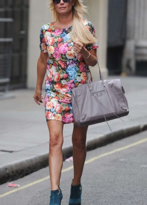 Denise Van Outen in Floral Mini Dress Leaves Magic FM Studios in London