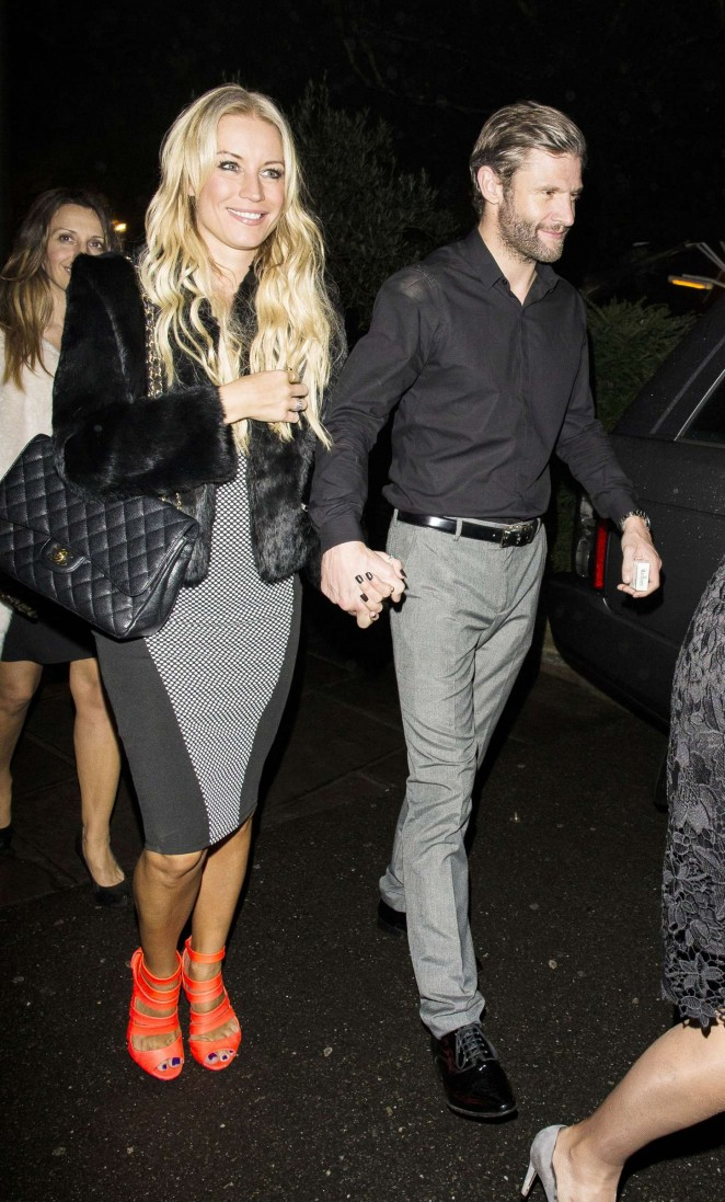 Denise Van Outen with friends for a night out in Chigwell