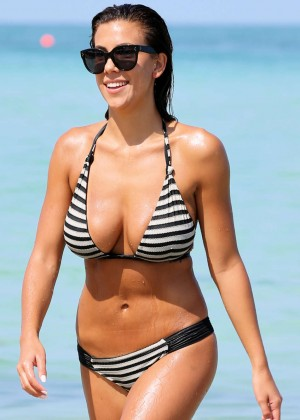 Devin Brugman in Black and White Bikini on Miami Beach
