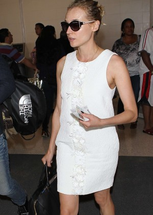 Diane Kruger in Mini Dress at LAX Airport in LA