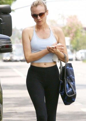 Diane Kruger In Tights Leaving a Pilates Studio in West Hollywood