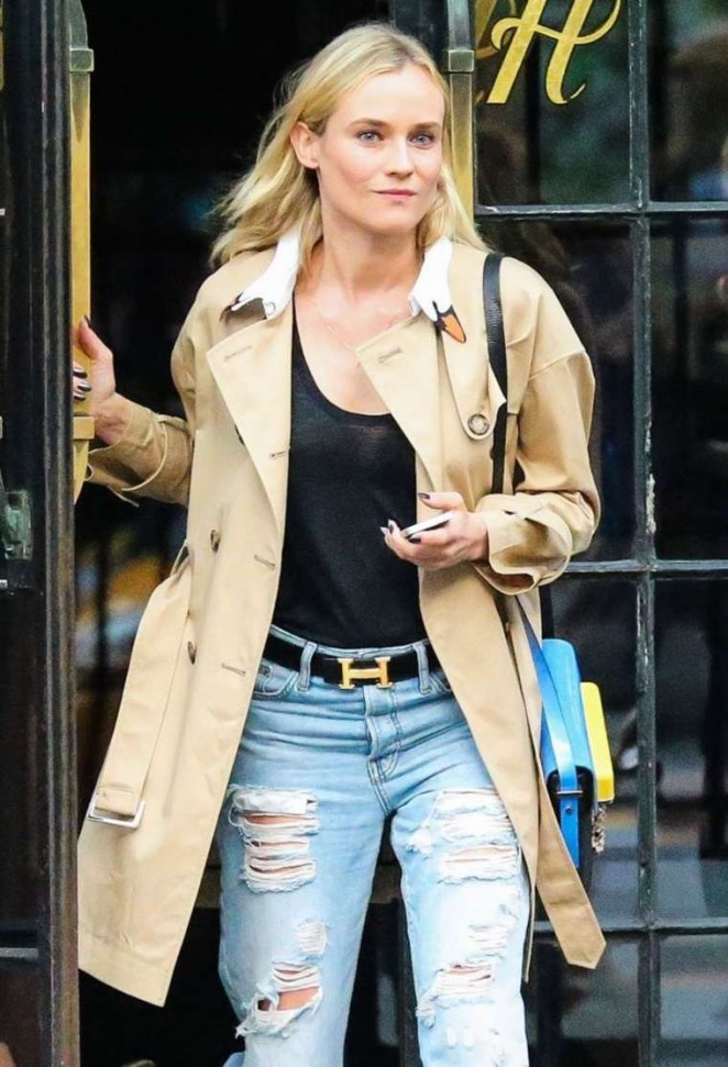 Diane Kruger in Ripped Jeans Leaving The Bowery Hotel in NYC