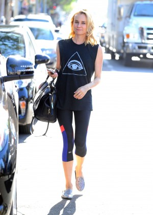 Diane Kruger in Leggings out in LA