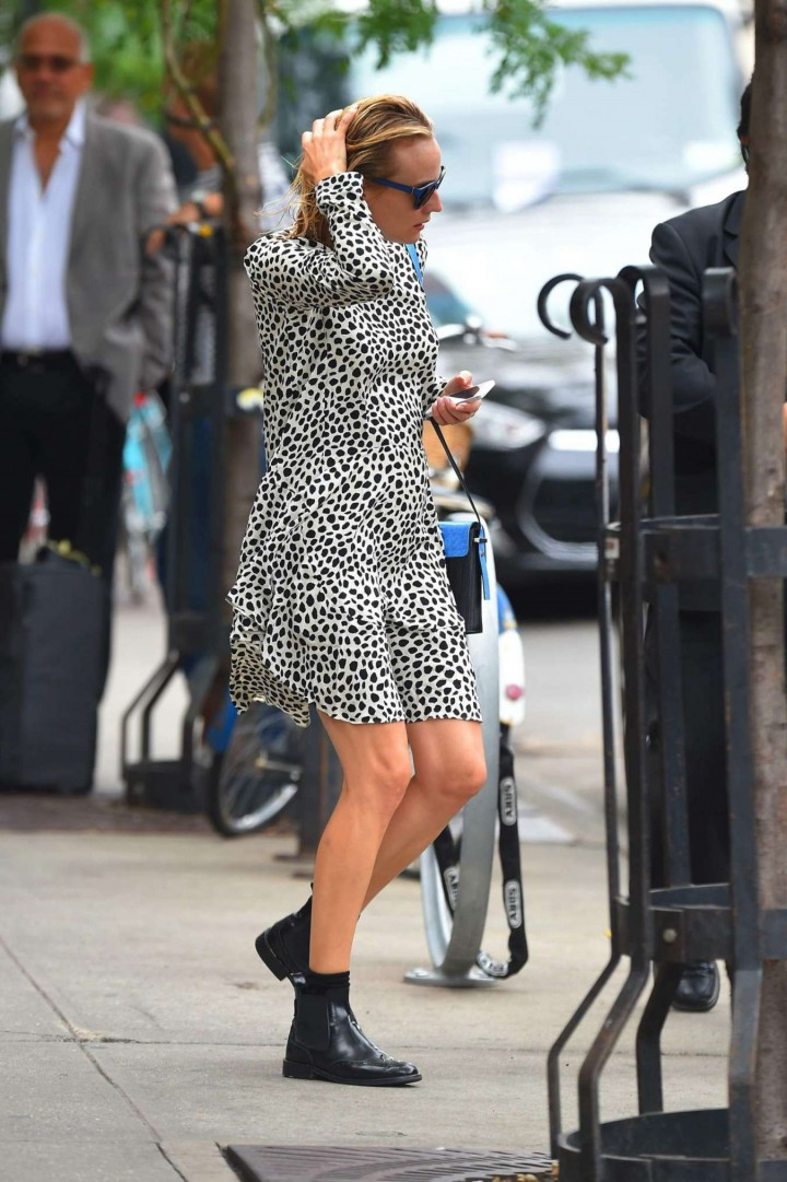 Diane Kruger in Mini Dress out in New York