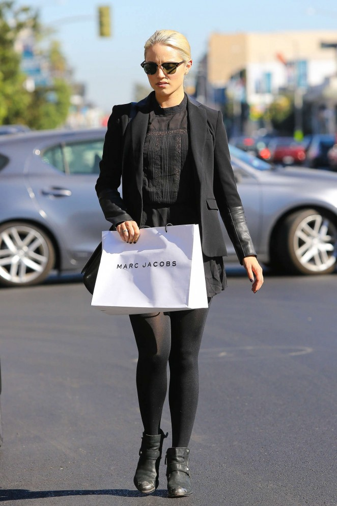 Dianna Agron in Mini Skirt -01