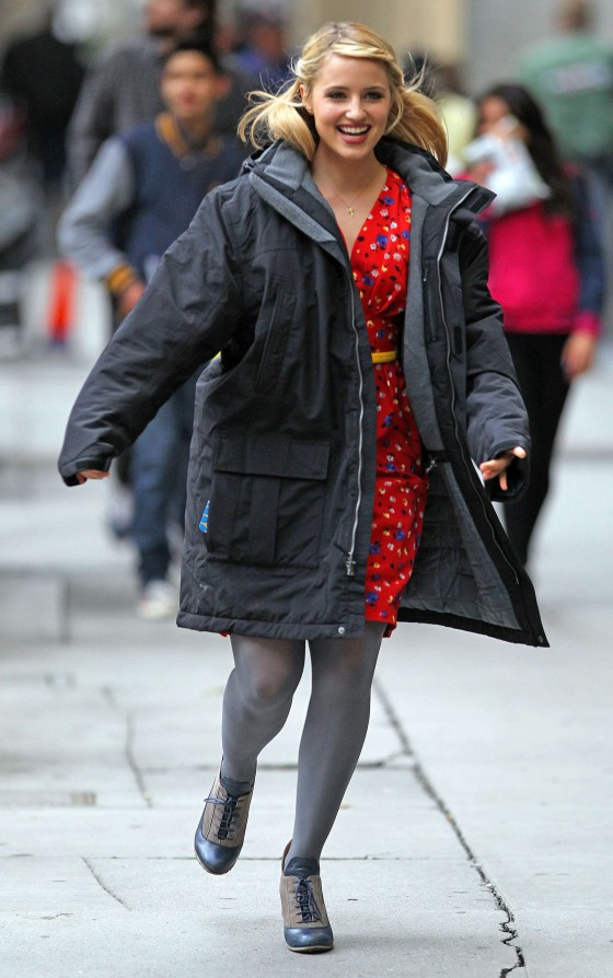 Dianna Agron on the set of Glee in LA