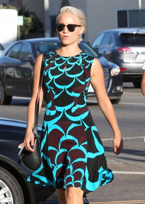 Dianna Agron In Green Dress Out and about in West Hollywood