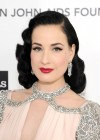 Dita Von Teese cleavage at 20th Elton John AIDS Foundation-03
