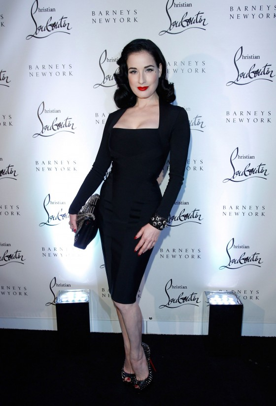 Dita Von Teese - Hot in Tight Dress at Christian Louboutin Party-06