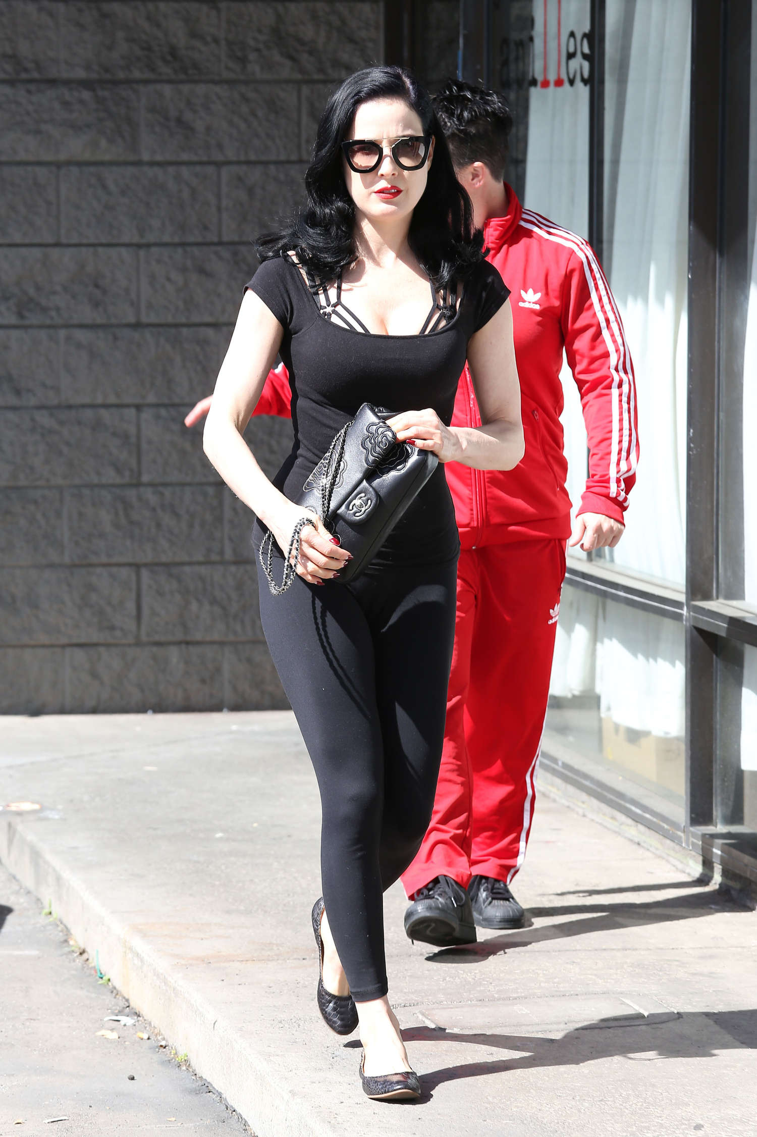 1fcb13e7c519 Dita Von Teese in Leggings leaving her yoga class in Los Angeles