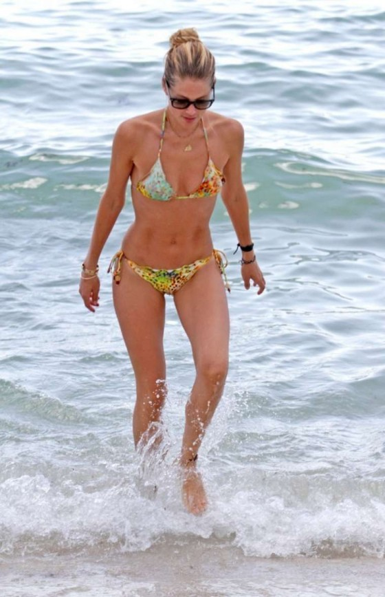 Doutzen Kroes wearing bikini at the beach in Miami