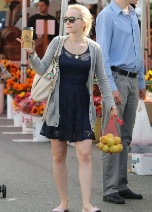 Dove Cameron in Mini Dress Shopping at Farmer's Market in LA