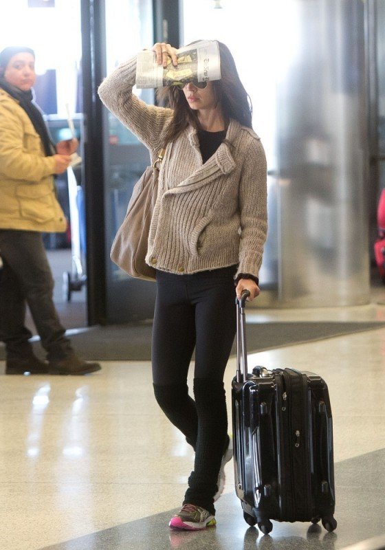 Eliza Dushku in tights at LAX Airport 1/5/13