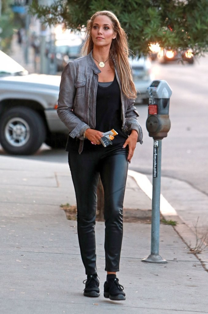 mature women leather pants