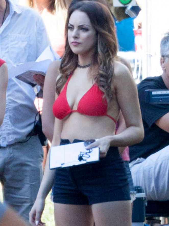 "Elizabeth Gillies in Red Bikini Top on Set of ""Vacation"" in Atlanta"