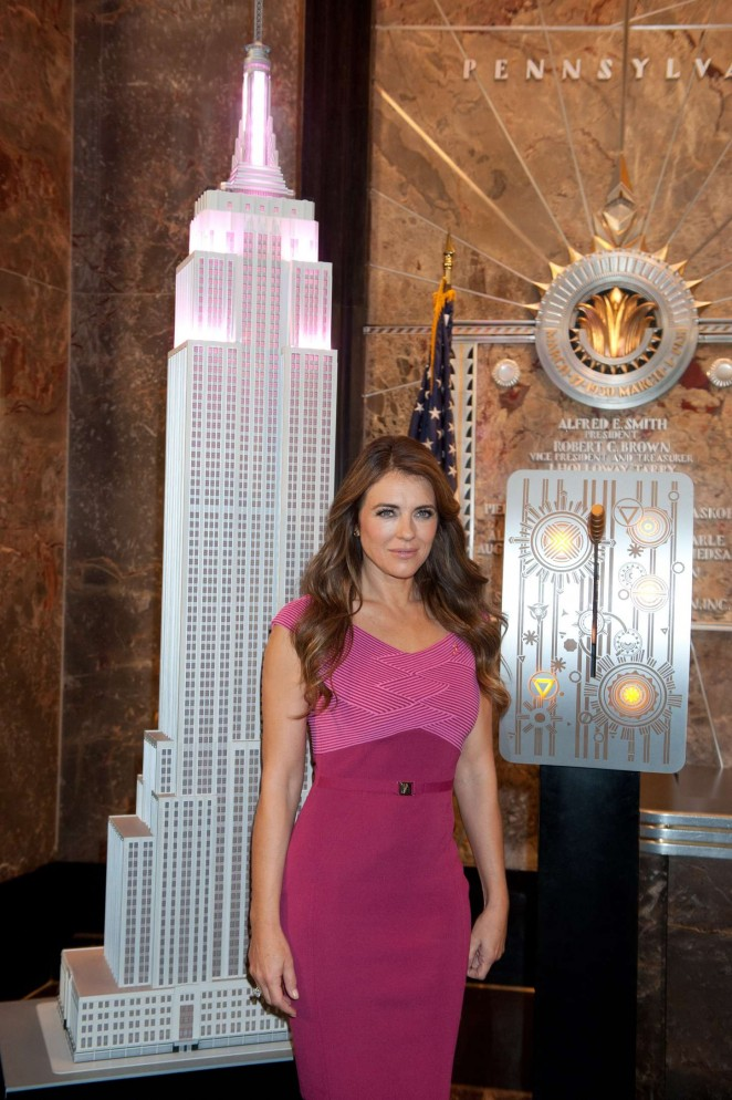 Elizabeth Hurley - Breast Cancer Awareness Month Event at Empire State Building in NYC