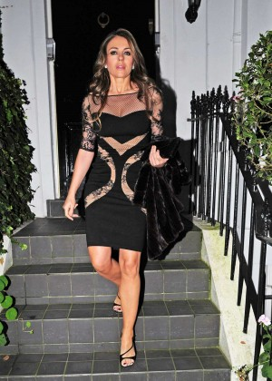 Elizabeth Hurley in Mini Dress Leaves her home in London