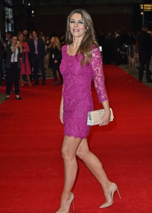 "Elizabeth Hurley in Pink Dress at Premiere ""The Rewrite"" in London"