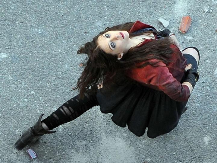 Elizabeth Olsen On The Avengers Age Of Ultron Set Photos