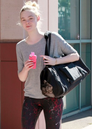 Elle Fanning in tights heading to dance class in Studio City