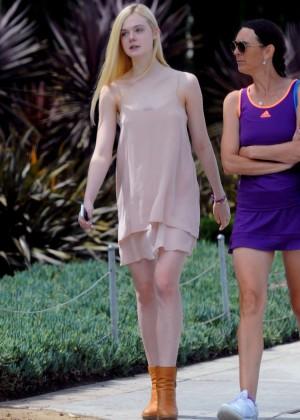 Elle Fanning on Short Dress out in Santa Monica