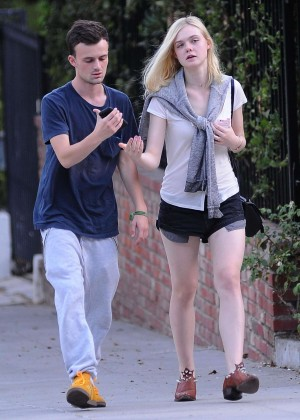 Elle Fanning in Shorts out in Los Feliz