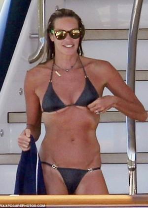 Elle Macpherson Bikini Candids On A Yacht In Sardinia