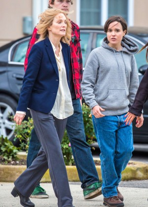 Ellen Page and Julianne Moore on Freeheld set -08