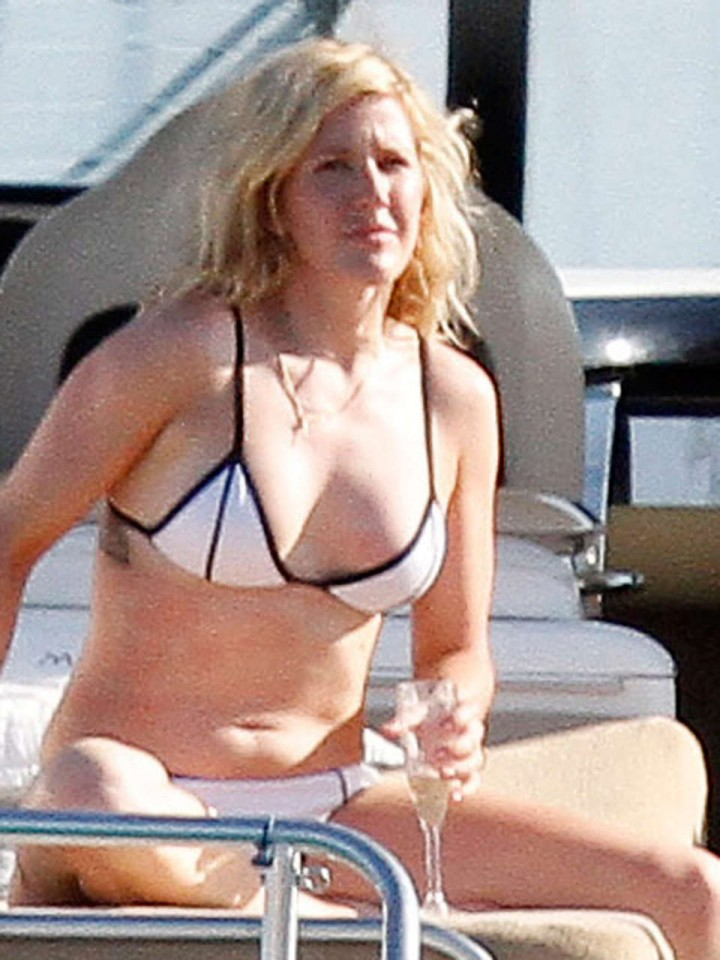 Ellie Goulding in a Bikini on a Yacht in Spain