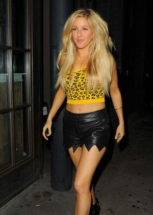 Ellie Goulding in Leather Shorts Out in London