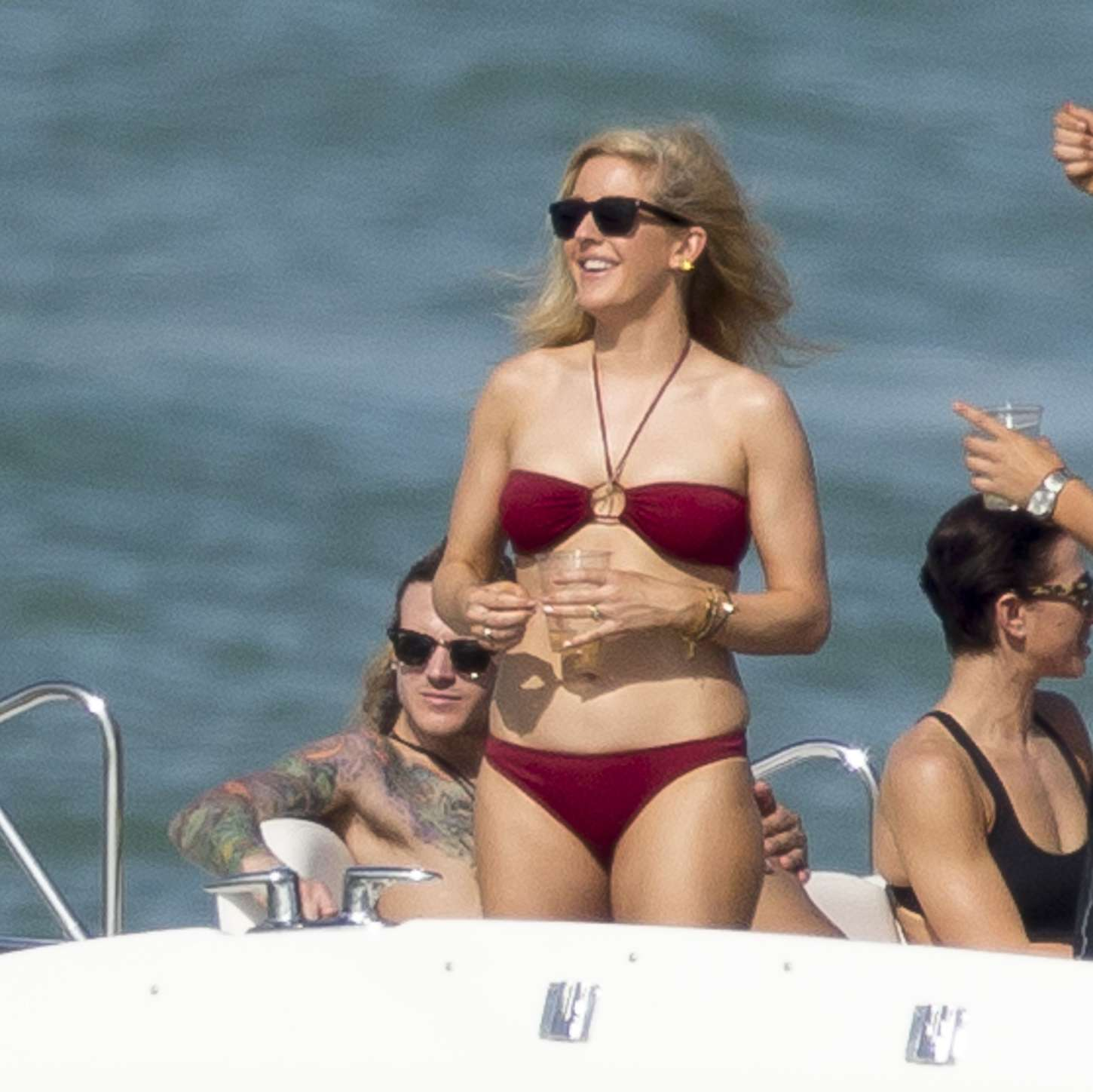 Ellie Goulding in Red Bikini on a yacht in Miami