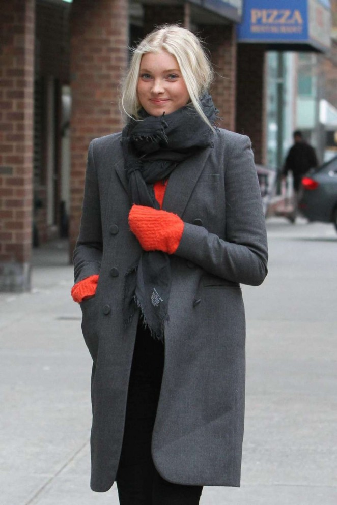 Elsa Hosk in Coat out in NYC