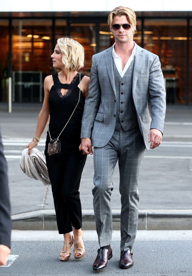 Elsa Pataky with husband Leaving the Foxtel Season Launch in Sydney