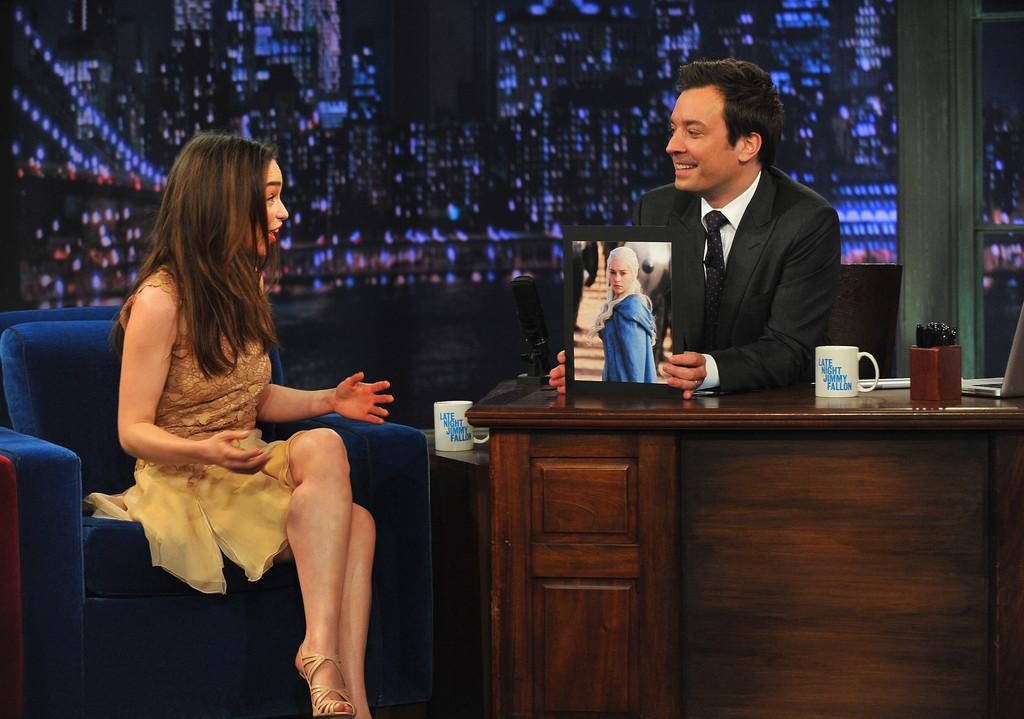 Emilia Clarke 2013 : Emilia Clarke – visits Late Night with Jimmy Fallon -01
