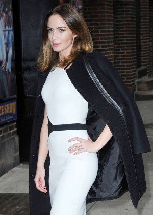 Emily Blunt in White Dress at The Late Show with David Letterman in NY