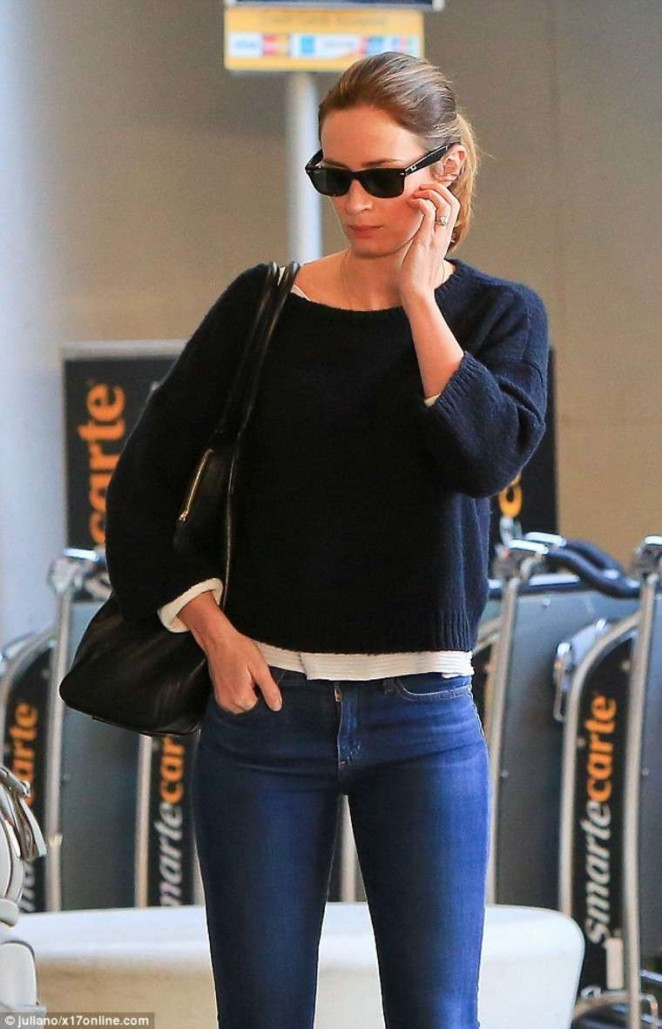 Emily Blunt in Jeans at LAX Airport in Los Angeles