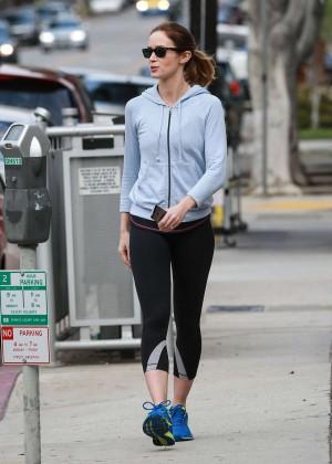 Emily Blunt in leggings out in Los Angeles