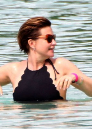 Emma Forbes in Black Swimsuit -07