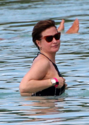 Emma Forbes in Black Swimsuit -15