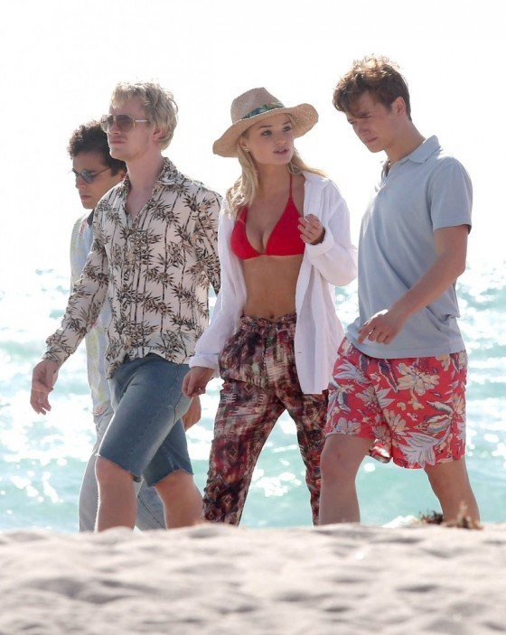 Emma Rigby - Wearing Bikini Top on the set of Plastic in Miami