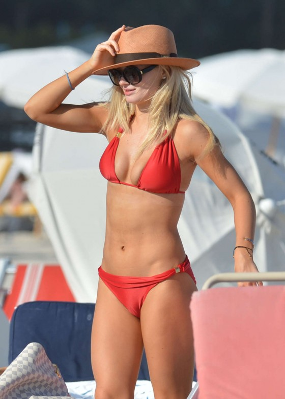 Emma Rigby Wearing Red Bikini in Miami Beach