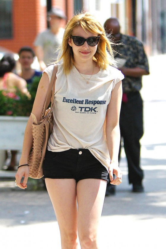 Emma Roberts - In short shorts while walking in New York City's East Village