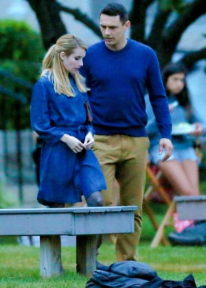 Emma Roberts on the set of a movie in Long Island