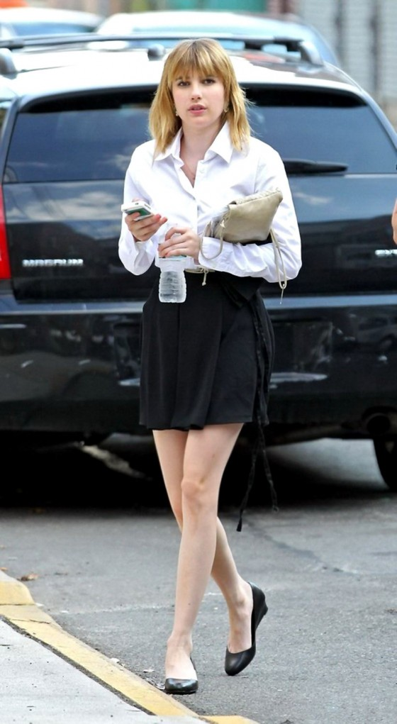 "Emma Roberts - Shows of her legs in mini skirt On the Set of ""Empire State"""