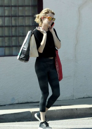 Emma Roberts in Black Spandex Out Shopping in New Orleans