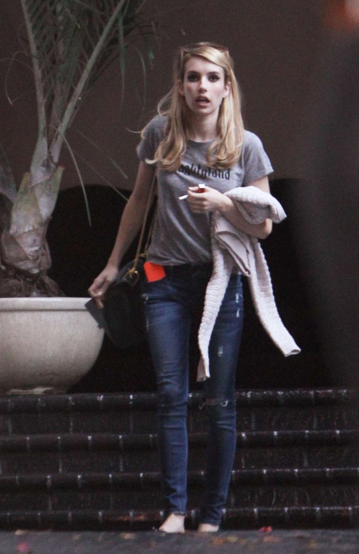 Emma Roberts in Jeans Outside Chateau Marmont in LA