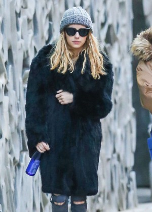 Emma Roberts in Black Coat Out in New York