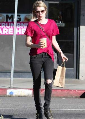 Emma Roberts in Black Ripped Jeans Out in LA