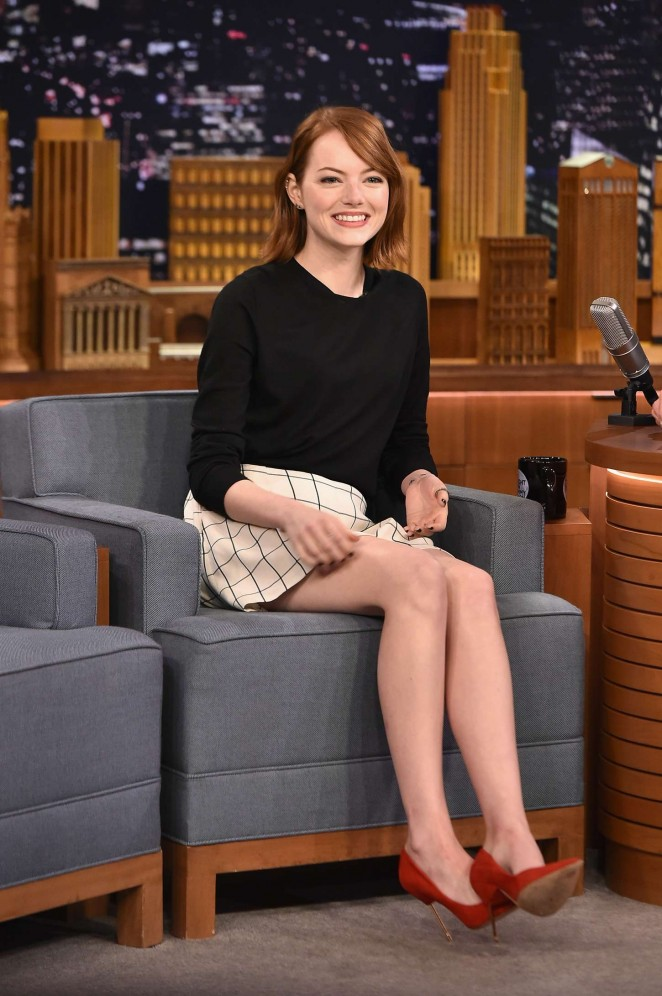 Emma Stone Leggy at The Tonight Show With Jimmy Fallon in NYC