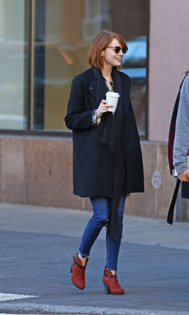Emma Stone in Jeans out and about in NYC
